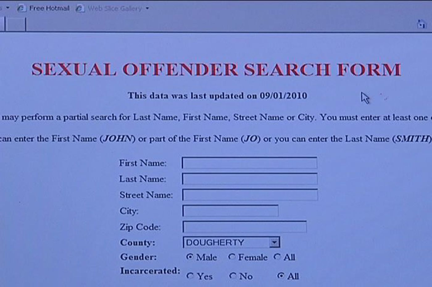 Problems with sex offender registry