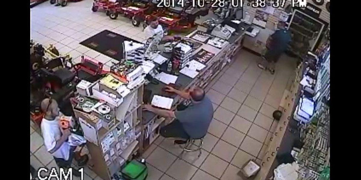 Caught on camera: Man stuffs chainsaw down pants