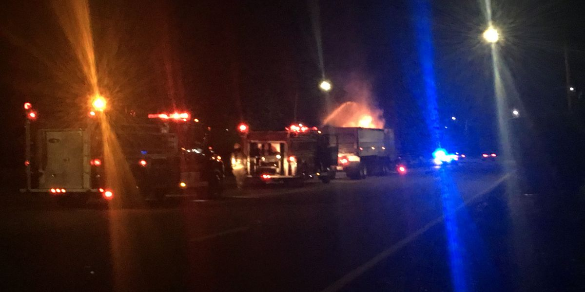 Crews respond to semi truck fire in Dawson