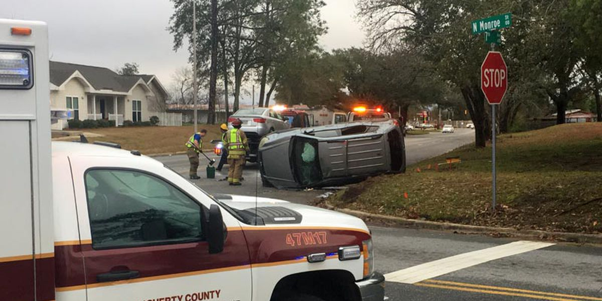 Vehicles collide on 7th Ave., one rolls over