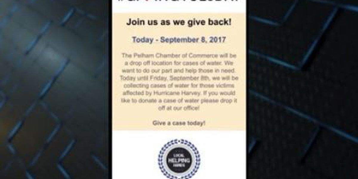 Pelham Chamber collects water for Harvey