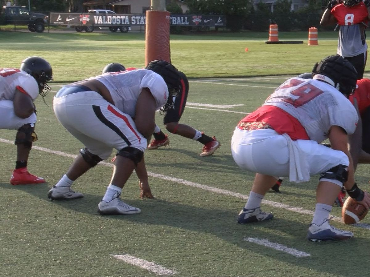 The Valdosta Blazers are officially in full pads