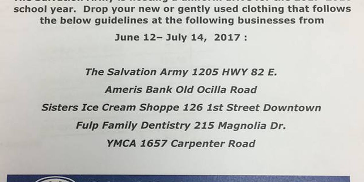 Tifton Salvation Army hosts uniform drive