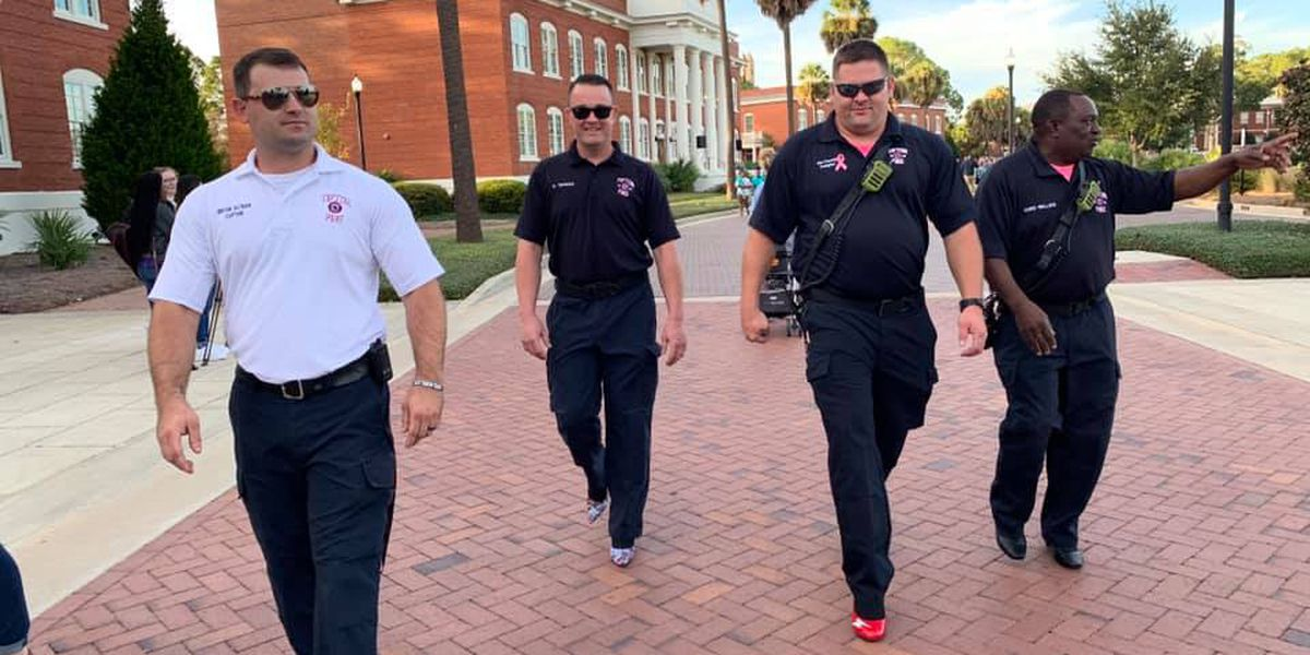 Tifton first responders blaze path in high heels for 'Walk a Mile in Her Shoes'