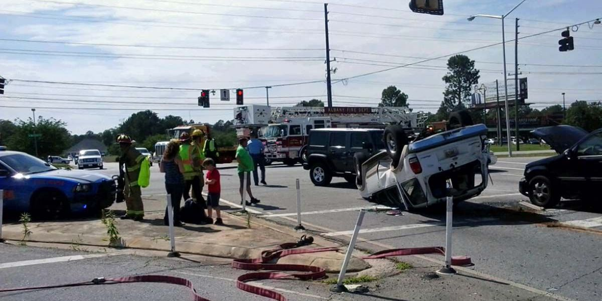 Rollover wreck, Westover and Meredyth