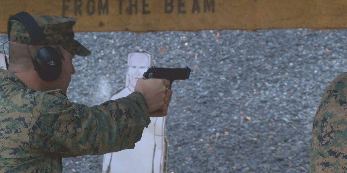 Marines and sailors participate in annual pistol qualification