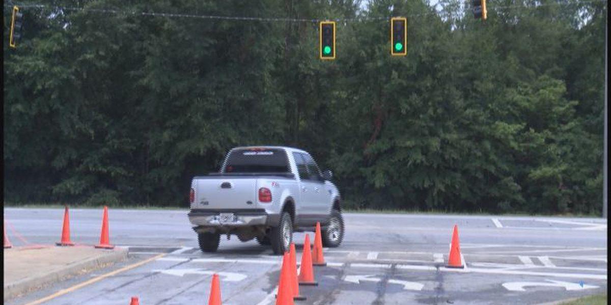 Traffic lights operating in front of Bainbridge High School